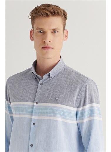 Avva Erkek Çizgili Düğmeli Yaka Comfort Fit Gömlek A11Y2105 Mavi